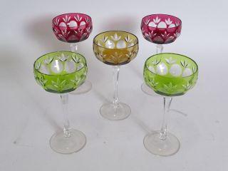 Konvolut 5 Herrliche Gläser Antik Bleikristall Champagner Ausgefallenen Farben Bild