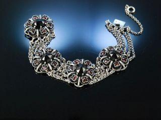 Grosses Trachten Armband Silber 835 Granat Gmund Um 1910 Garnet Bracelet Silver Bild