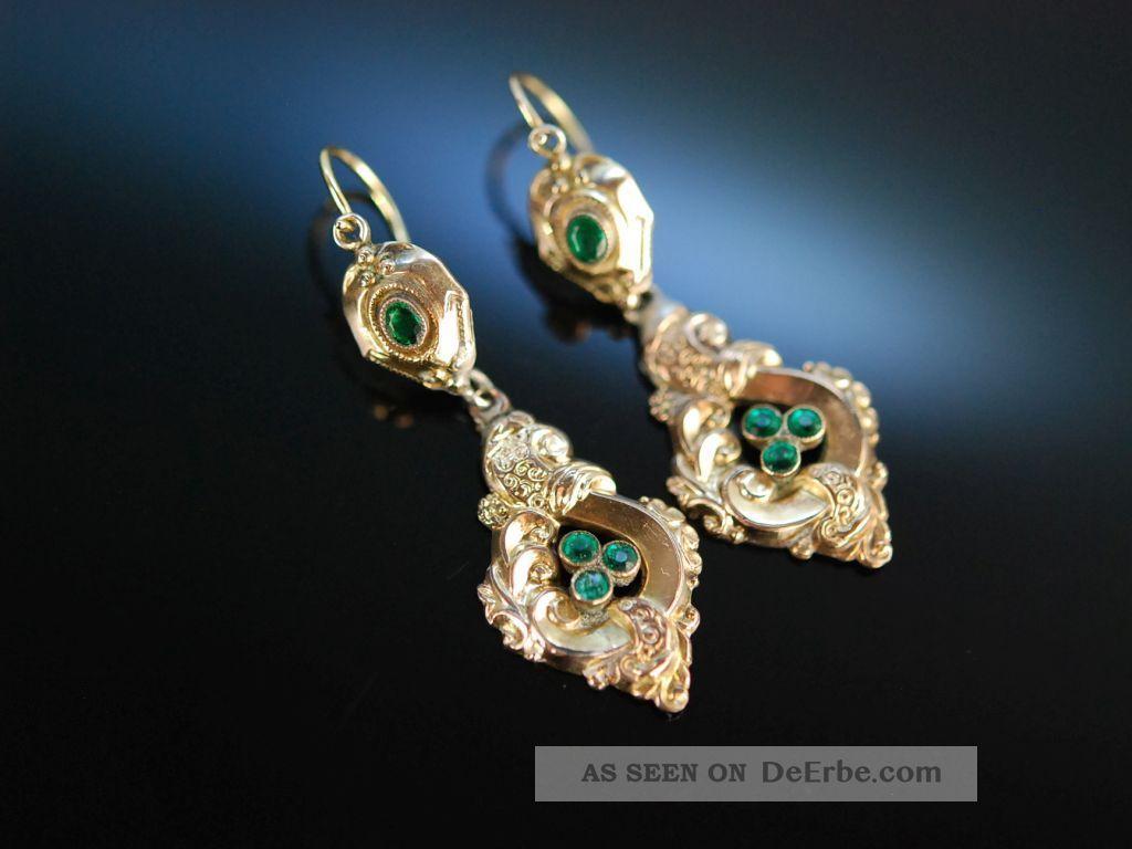 MÜnchen 1850 Historische Ohrringe GolddoublÉ GrÜne Glassteine Antique Earrings Schmuck nach Epochen Bild