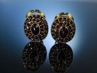 SchÖne Granat Ohrclipse Silber Vergoldet Österreich Um 1980 Tracht Ohrringe Bild