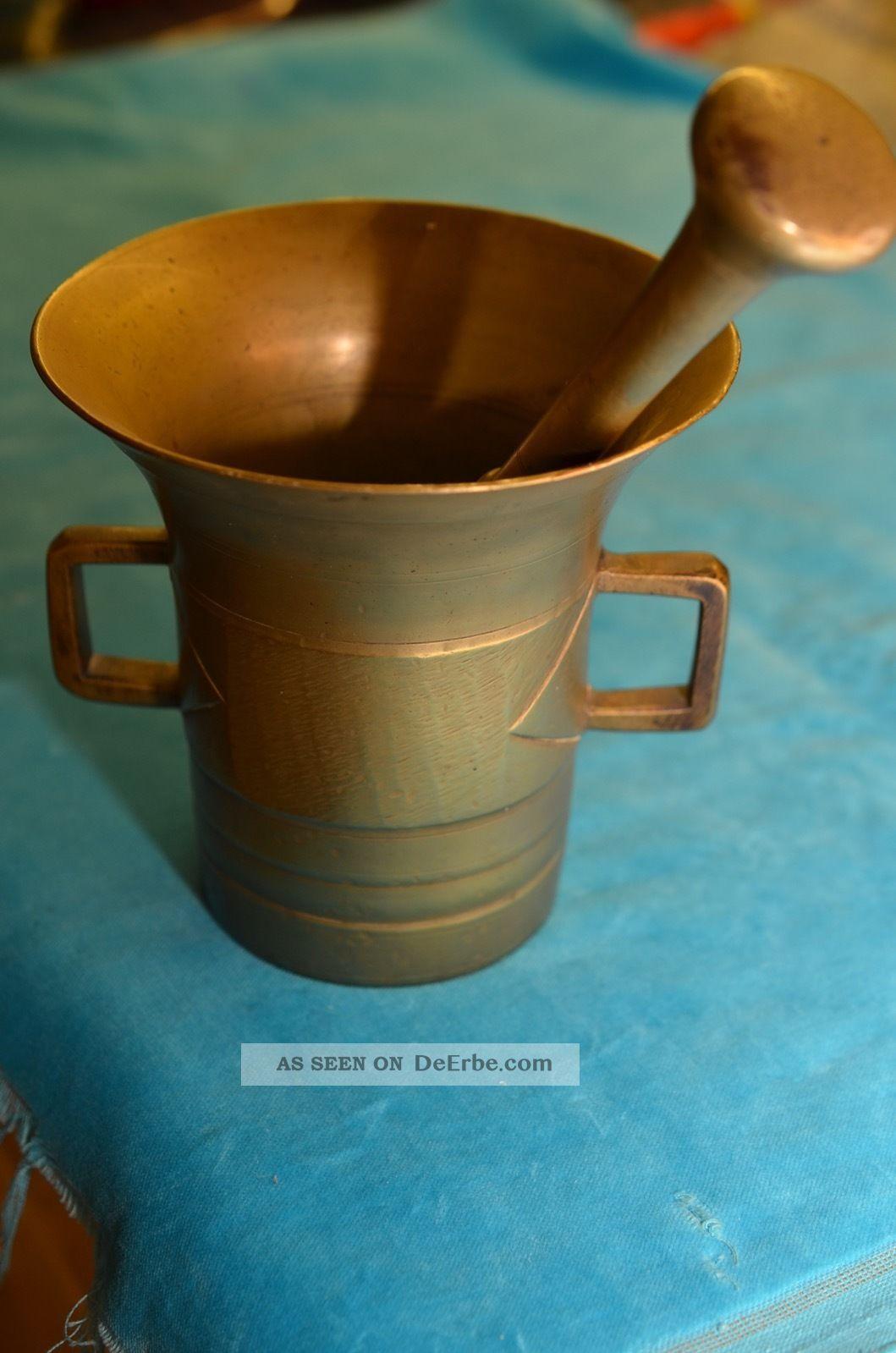 Alter Antiker Bronze/messing Mörser Mit Pistill Um 1900 2300 Gramm Arzt & Apotheker Bild
