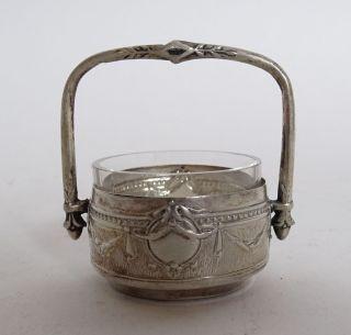 Antike Empire Saliere Salzgefäß Gewürzgefäß Metall Mglw.  Silber Mit Glaseinsatz Bild