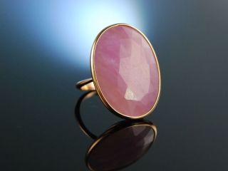 Italian Style Grosser Ring RosÉ Gold 750 Rosa Pink Saphir Schachbrettschliff Bild