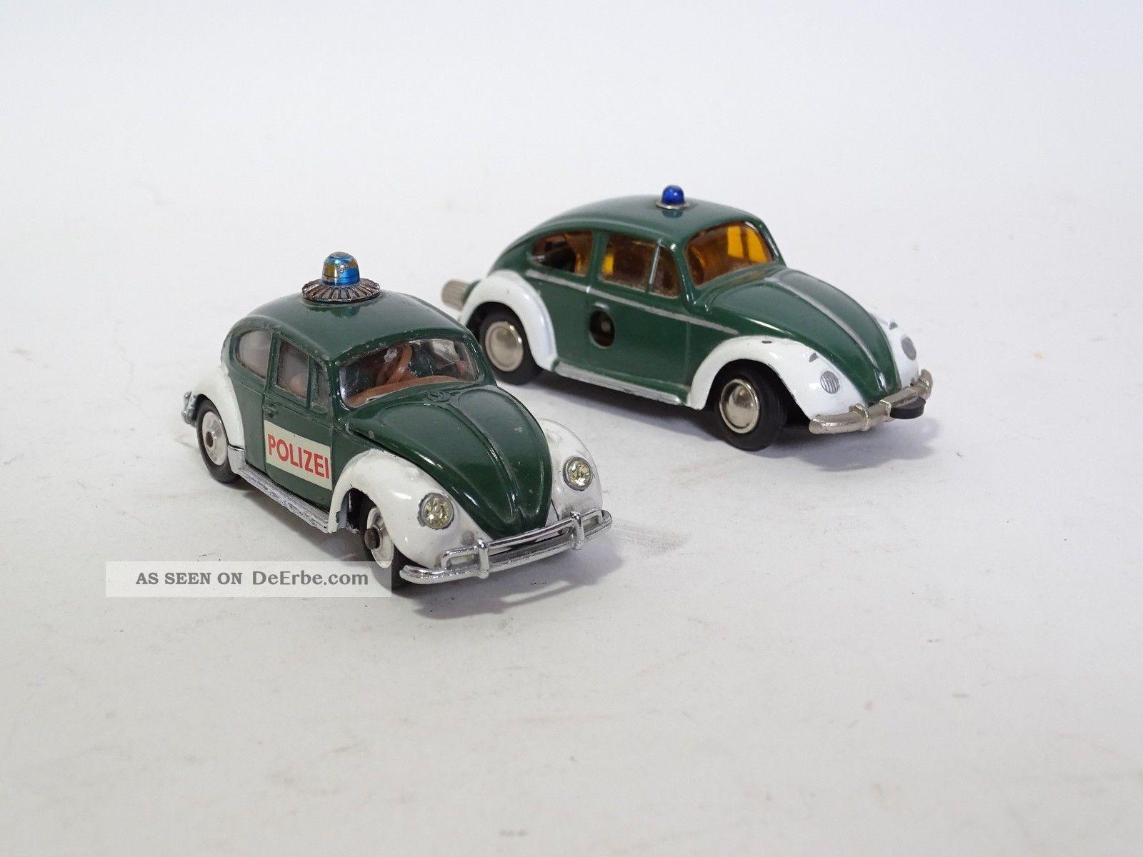 Corgi Schuco Blechspielzeug 2 Seltene Vw Käfer Polizei Modellautos Original, gefertigt 1945-1970 Bild