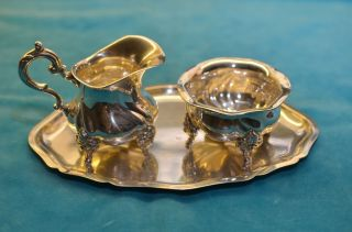 Alte Jugendstil Kaffeeset Milchkännchen Zuckerdose Tablett Silber 925 Wtb Bild