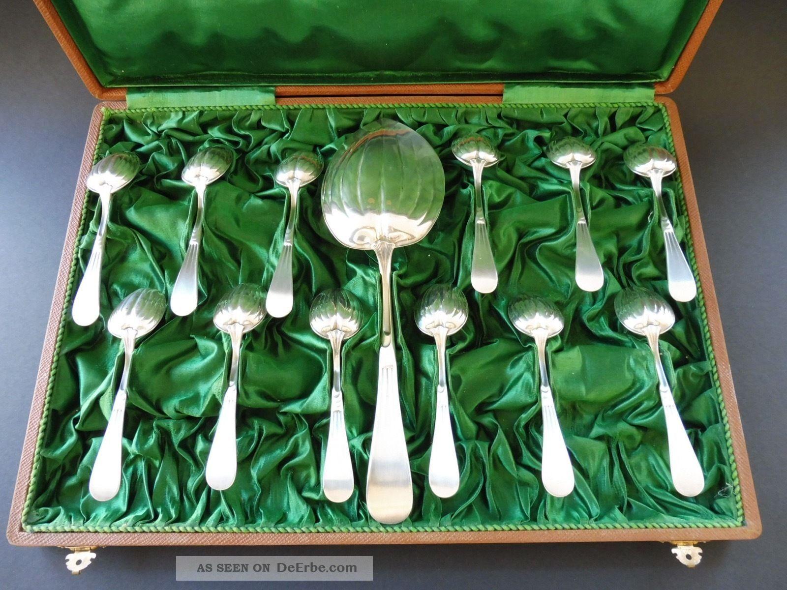 christofle paris jugendstil besteck ice cream dessert 12 p art nouveau cutlery. Black Bedroom Furniture Sets. Home Design Ideas