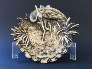 : Jugendstil Wiener Bronze Fischreiher Heron Vogel Art Nouveau Visitenkarte Bowl Bild