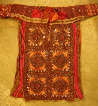Kleid Traumhafte Alte Handarbeit (baumwolle Seide Pailletten Spiegelchen) Bild