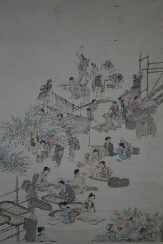 Antikes Japanisches Rollbild Kakejiku Dorfszene Japan Scroll 3520 Bild