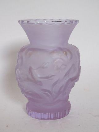 Seltene Ausgefallene Design Glas Vase Mit Hirsch Vogel Umkreis Lalique Bild