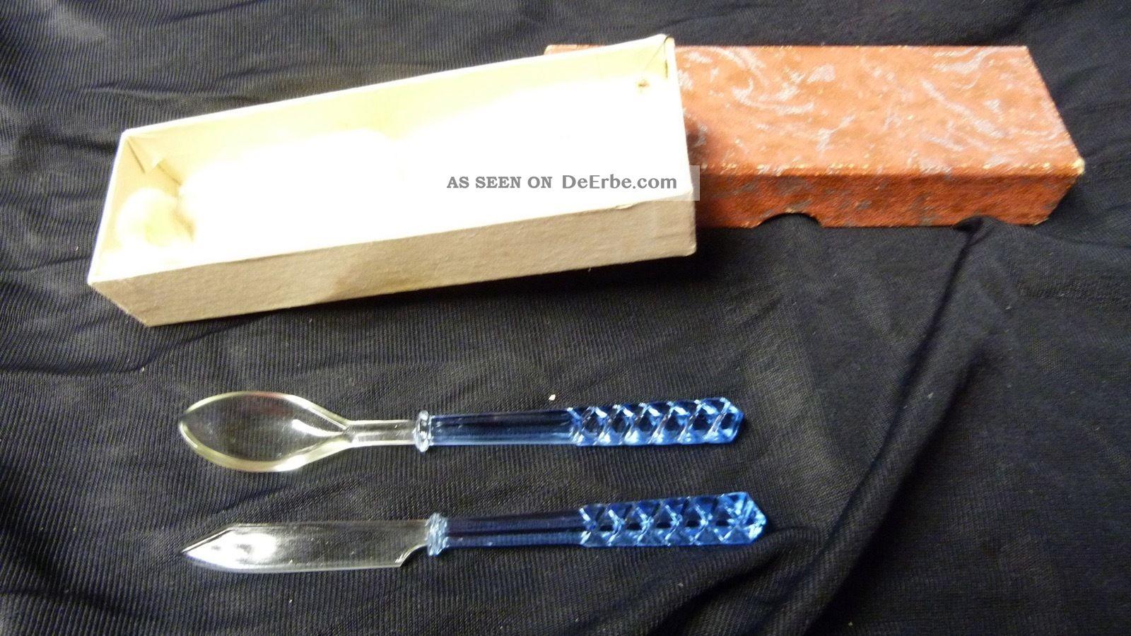 Antikes Kristallglas Eierbesteck Messer / Löffel - Griffe Blau - Ca Um 1900 Kristall Bild
