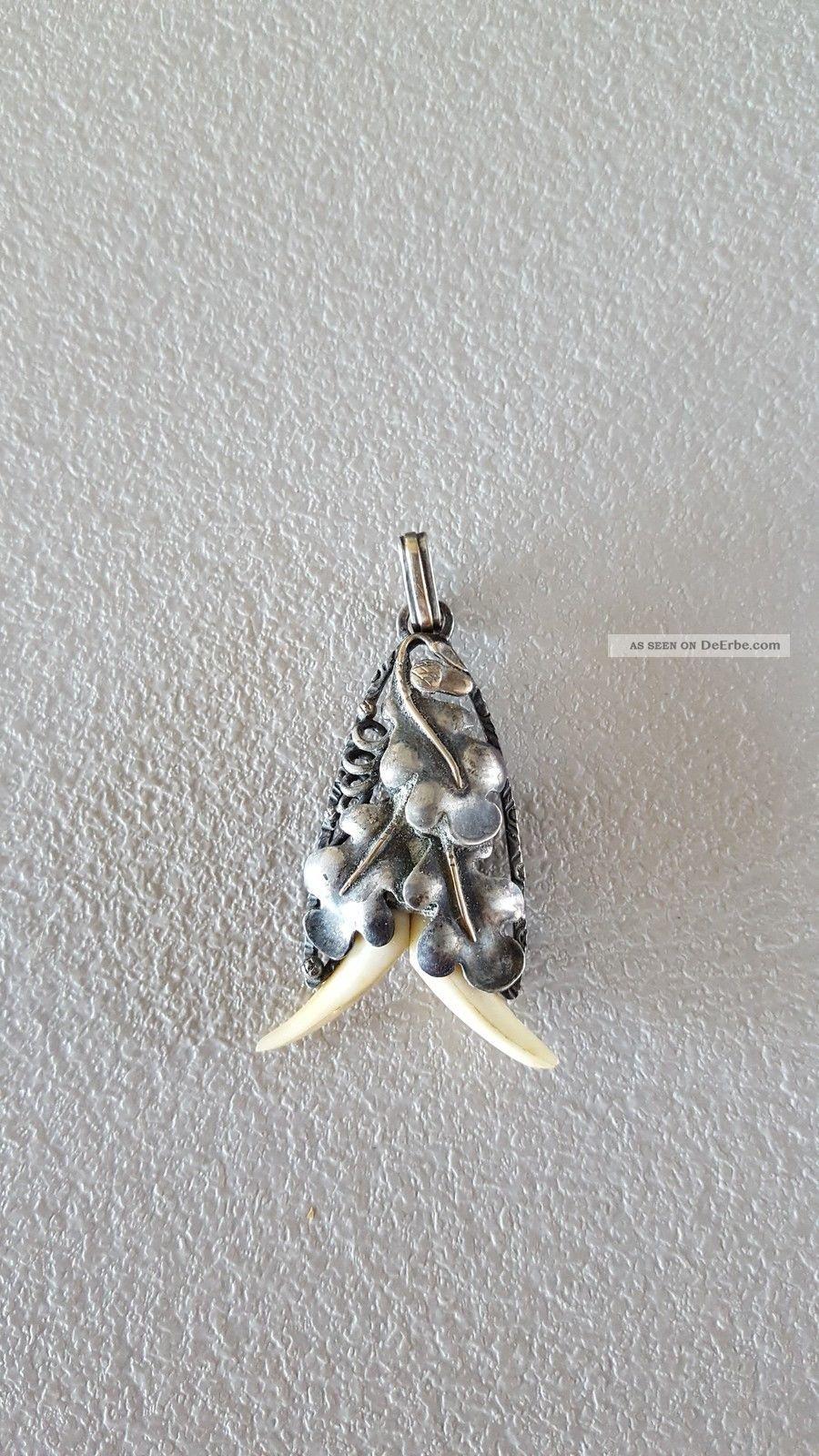 Anhänger Zahn Jagdschmuck Muster Auffällig Mittelalter Trachten 4,  90 G Cp2150 Beinarbeiten Bild