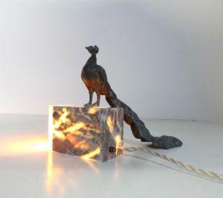 Seltene FranzÖsische Art Deco Marmor Lampe Mit Pfau Tischlampe Lamp Bild
