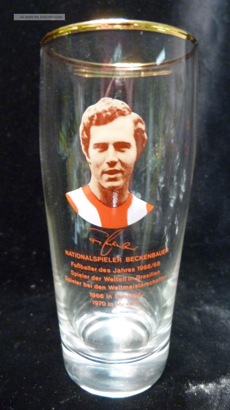Altes Vintage Bierglas - Franz Beckenbauer - Ca.  50/60er Sammlerglas Bild