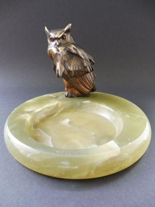 Jugendstil Bronze Brass Eule Onyx Schmuck Schale Art Nouveau Owl Tray Bird Vogel Bild