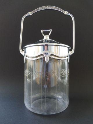 :: Große Wmf Jugendstil Keks Dose Biskuit Box Floral Art Nouveau Carving Glass Bild