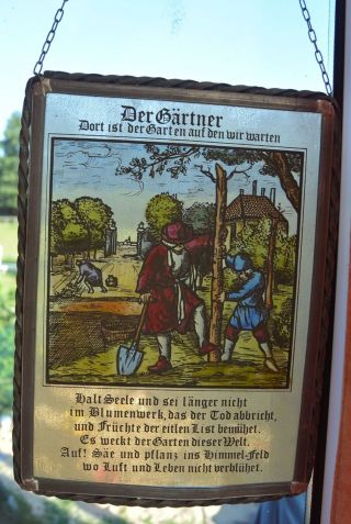 Antik Hinterglasmalerei Bleiverglast - Sinnspruch Der GÄrtner Bild