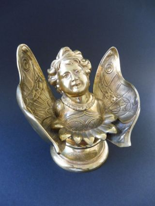 Großes Tintenfass Elfe Jugendstil Schmetterling Elf Inkwell Art Nouveau Bronze Bild
