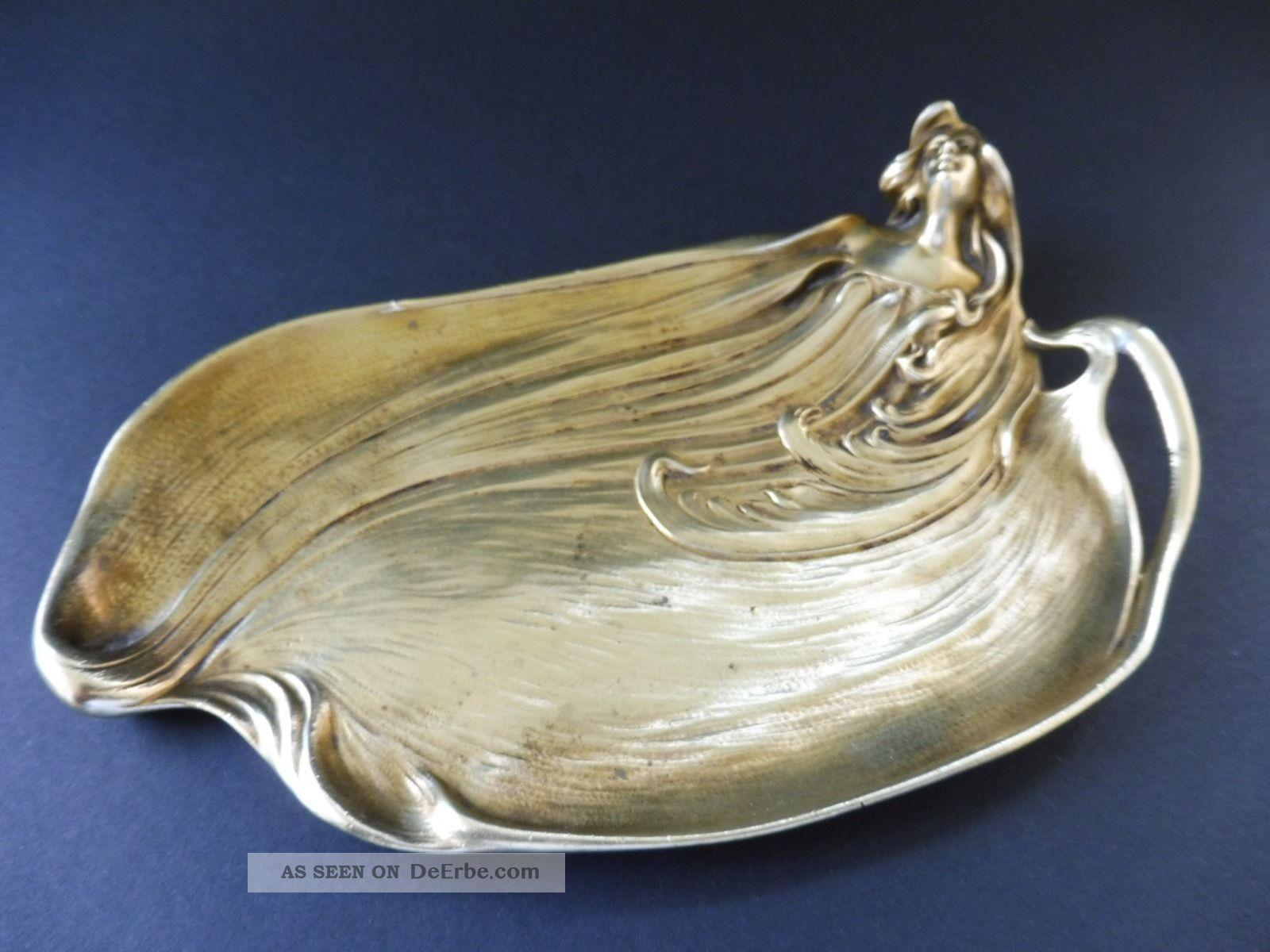Jugendstil Bronze Visitenkarte Schale Frau Maiden Art Nouveau Visiting Card Tray 1890-1919, Jugendstil Bild