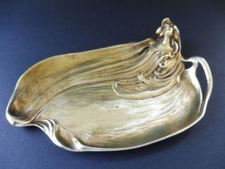 Jugendstil Bronze Visitenkarte Schale Frau Maiden Art Nouveau Visiting Card Tray Bild