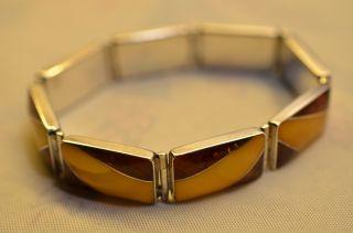 Schönes Designer Bernsteinarmband Silber 925 Gk Amber Butterscotch Bild