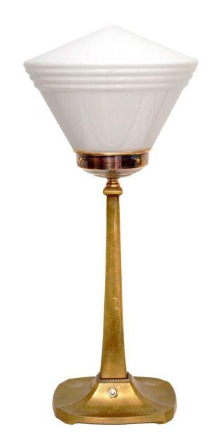 Sehr Elegante Art Déco Tischleuchte Tischlampe Messing 1940 Bild