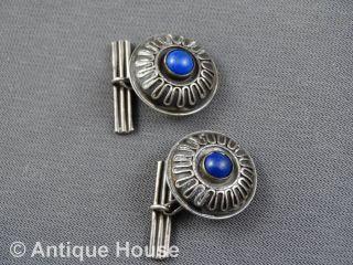 Silber 800 Schmuck Altes Schmuckstück Manschettenknöpfe Blauer Stein - Beweglich Bild