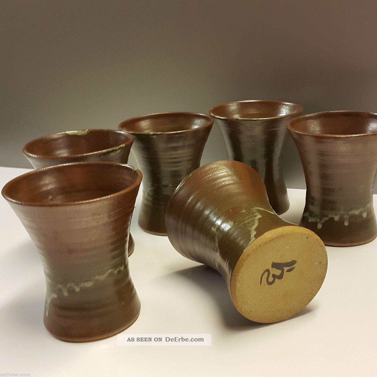 Rar Waistel Cooper Studio Keramik Pottery 6 Becher Trinkbecher Laufglasur Sign. Nach Marke & Herkunft Bild
