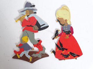 Mertens Kunst Holzsägearbeiten 2 Figuren Rattenfänger Und Die 7 Raben Bild