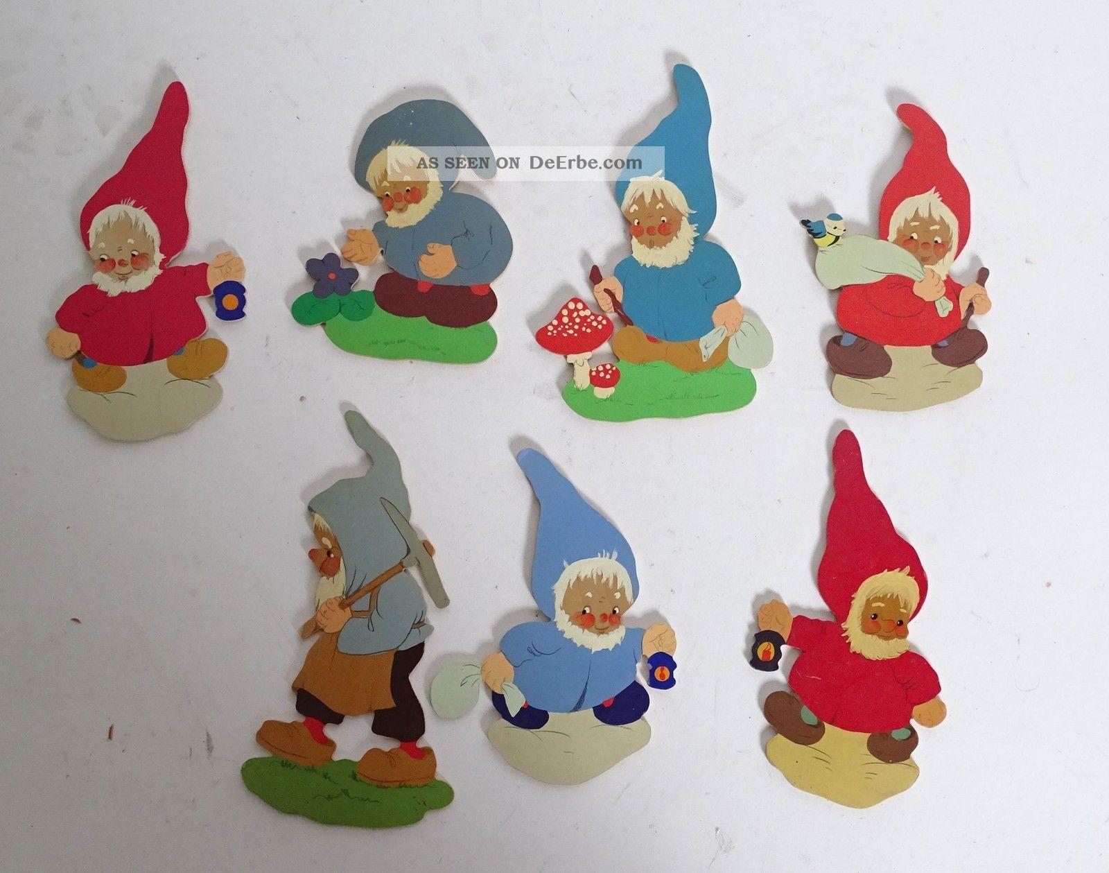 7x Konvolut älterer Zwerge Holzsägearbeiten Figuren