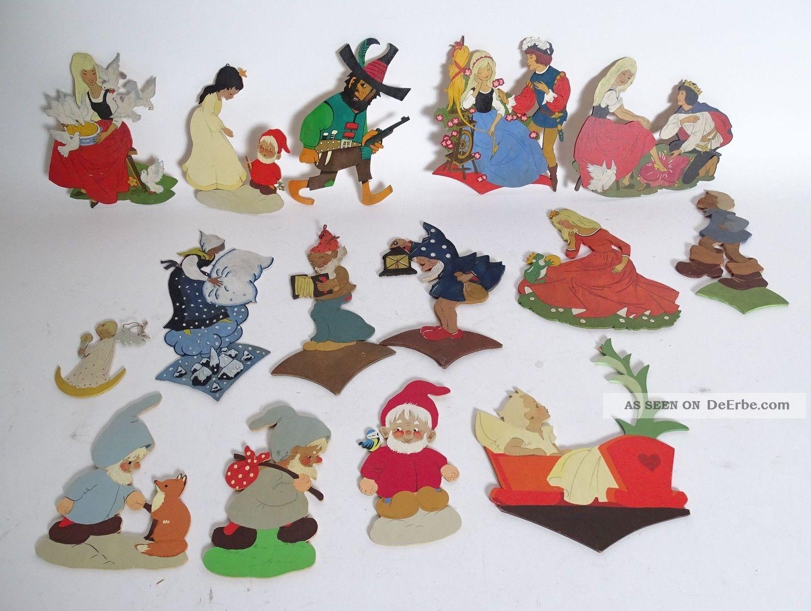 Riesiges Konvolut älterer Holzsägearbeiten Figuren Märchen Sandmännchen Zwerge Holzarbeiten Bild