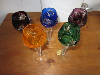 5 Römer Likörrömer Kristall Gläser Glas Handgeschliffen Bild