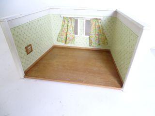 Antike Puppenstube Puppenhaus Gehäuse Mit Vorhängen Holzgehäuse Bild