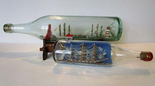 Schiffmodell Buddelschiff 2 Stück Einmal Mit Ständer Handarbeit Eigenbau Bild