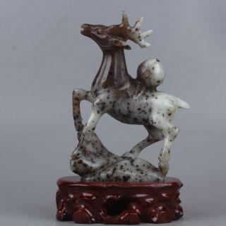 Exquisite Chinesische Natürliche Dushan Jadeschnitzen Hirsch - Statue Bild