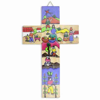 Kinderkreuz / Wandkreuz Aus El Salvador Kinder Bunt Bemalt Holz 15 X 9 Cm Bild