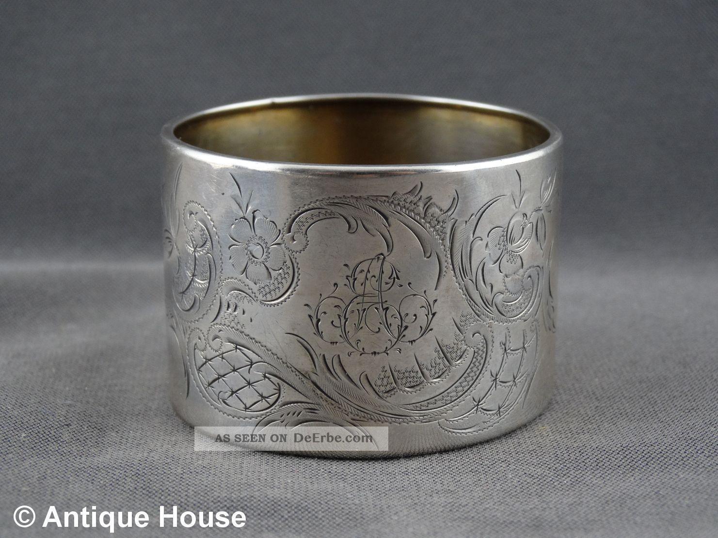 Silber 800 Alter Großer Serviettenring Rocaillien 25g Objekte vor 1945 Bild