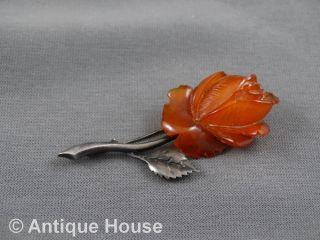 Schmuck Schmuckstück Alte Anstecknadel Bernstein Rose Sbm Silber 935 Bild