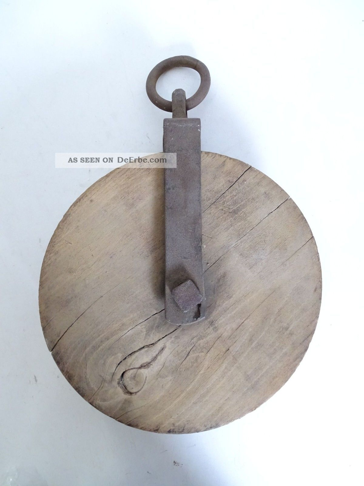 Antike Umlenkrolle Seilwinde Seilzug Rolle Holz Metall Rarität Flaschenzug Bauer Bild