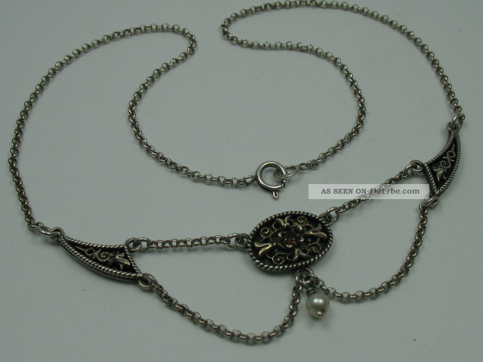 Sehr Schöne ältere Collier Kette Aus 835 Silber Mit Granat Und Perle Ketten Bild