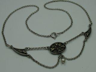 Sehr Schöne ältere Collier Kette Aus 835 Silber Mit Granat Und Perle Bild