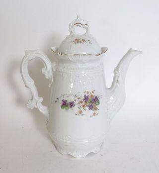 Antike Porzellan Kaffeekanne Biedermeier Vor 1900 Schenkkanne Streublumen Dekor Bild