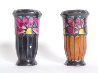 Paar Seltene Jugendstil Keramik Vasen Kleine Väschen Silbermontur Bild