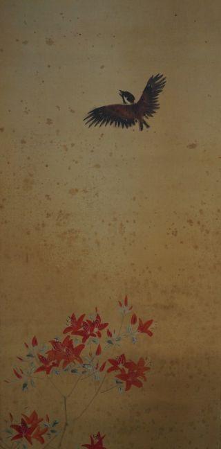 Antikes Japanisches Rollbild Kakejiku Der Spatz Und Die Blumen Japan Scroll 3601 Bild