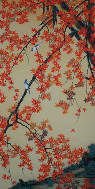 Antikes Japanisches Rollbild Kakejiku Vögel Im Herbst Japan Scroll 3539 Bild