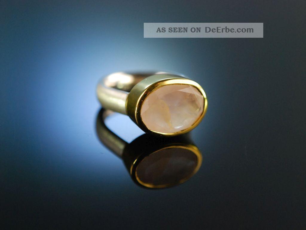 Zartes Rosa Moderner Ring Sterling Silber 925 Vergoldet Rosen Quarz Rose Quartz Ringe Bild