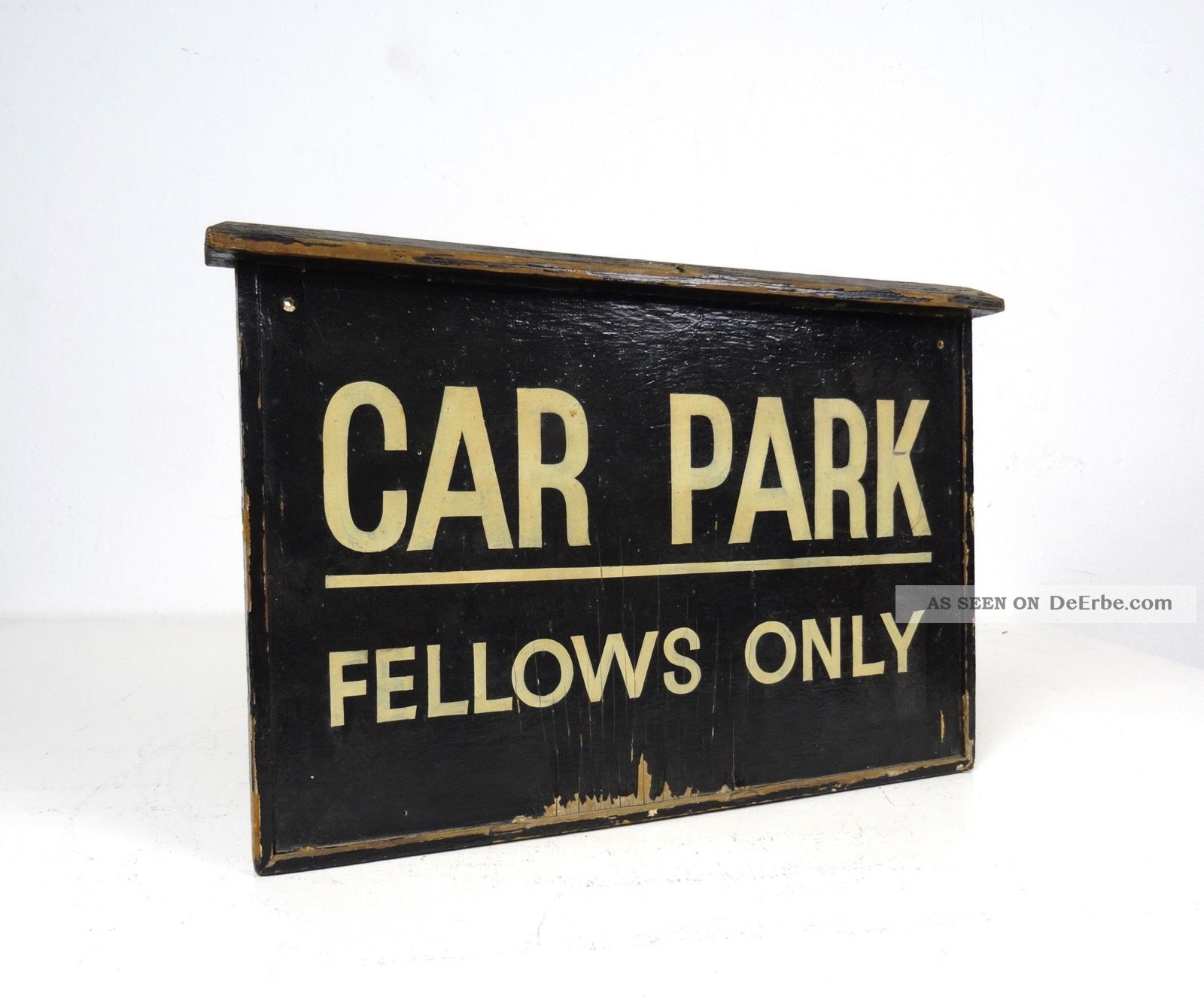 Antikes Holz Parkplatz Schild England Um 1930 Art Deco Straßenverkehr 1920-1949, Art Déco Bild