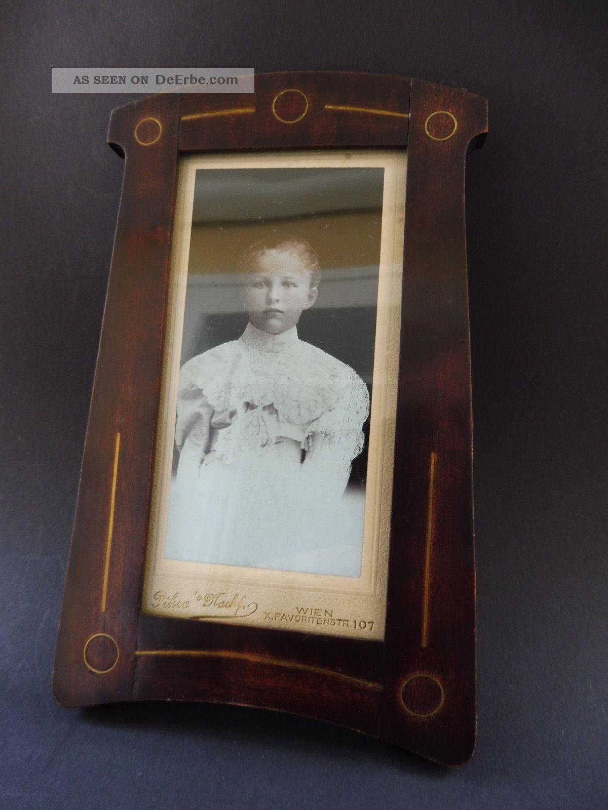 Jugendstil Foto Rahmen Messing Einlage Art Nouveau Wooden Frame Brass Marquetry 1890-1919, Jugendstil Bild