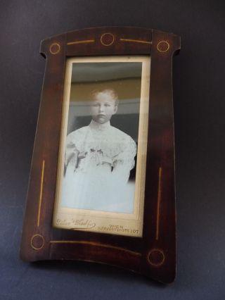 Jugendstil Foto Rahmen Messing Einlage Art Nouveau Wooden Frame Brass Marquetry Bild