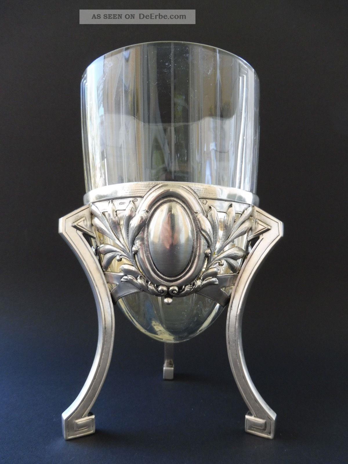 :: Jugendstil 800 Silber JÄger Wien Traube WÄscher Grape Vase Floral Art Nouveau Objekte vor 1945 Bild